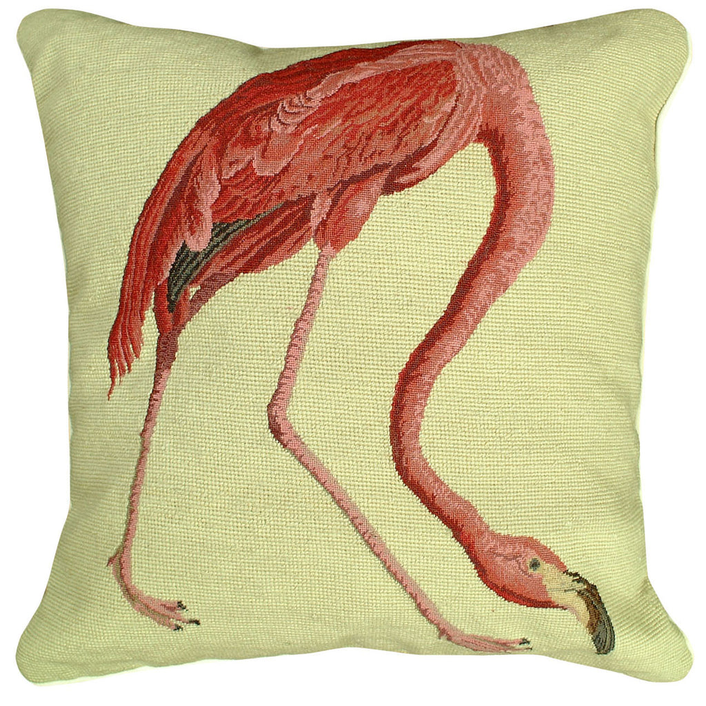 American Flamingo Needlepoint Pillow
