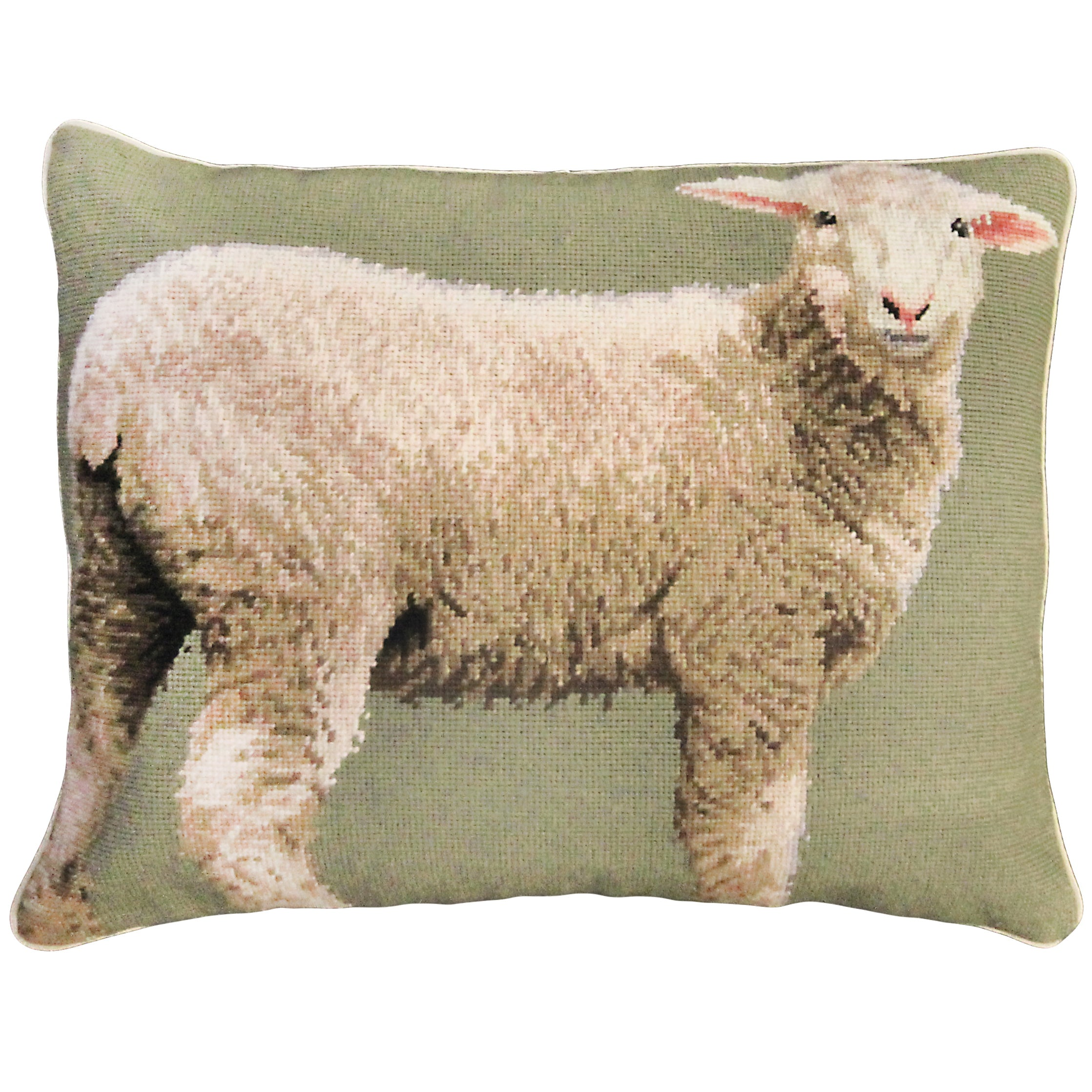 Baby Sheep Needlepoint Pillow