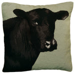 Black Angus Needlepoint Pillow