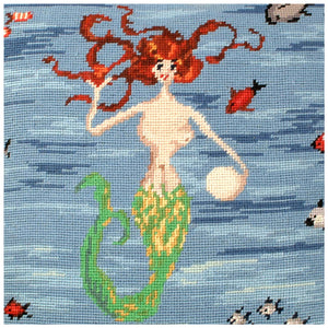 Red Mermaid Needlepoint Pillow