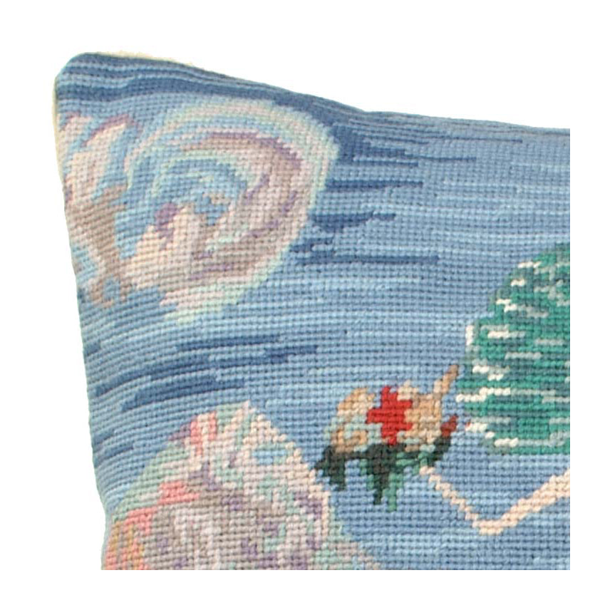 Aqua Mermaid Needlepoint Pillow