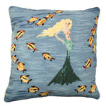 Yellow Mermaid Needlepoint Pillow