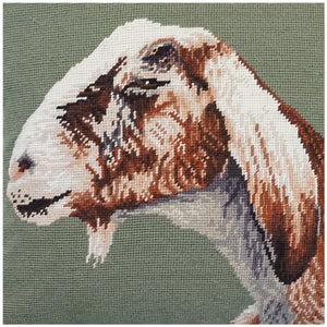 Nubian Goat Needlepoint Pillow