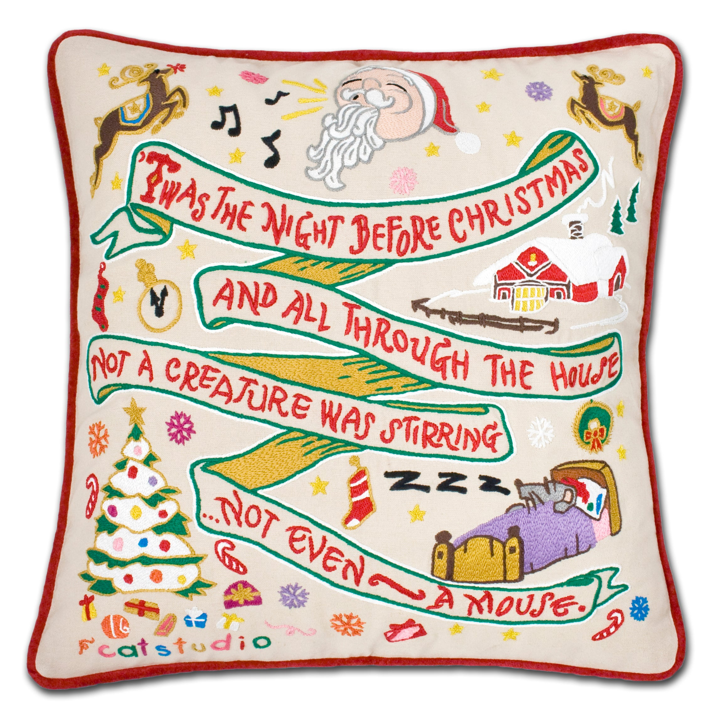 Night Before Christmas Hand-Embroidered Pillow