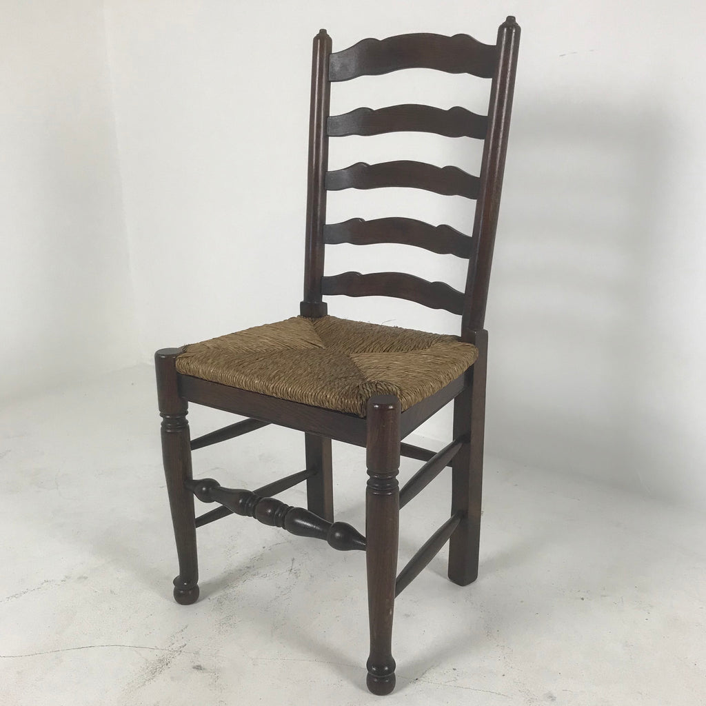English Ladder Back Side Chair with Rush Seat