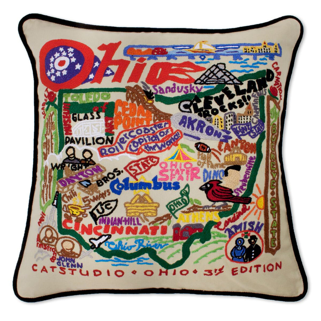 Ohio Hand-Embroidered Pillow