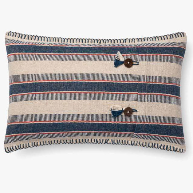 Indigo & Natural Shirley Striped Pillow