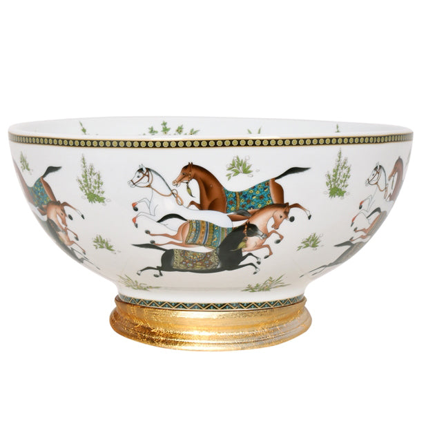 """Off to the Races"" Porcelain Bowl with Base"