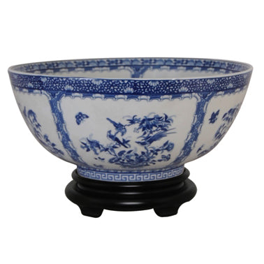Blue & White Rose Medallion Porcelain Bowl with Base