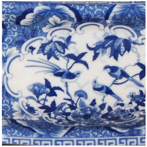 Birds and Butterflies Blue Porcelain Footbath with Base