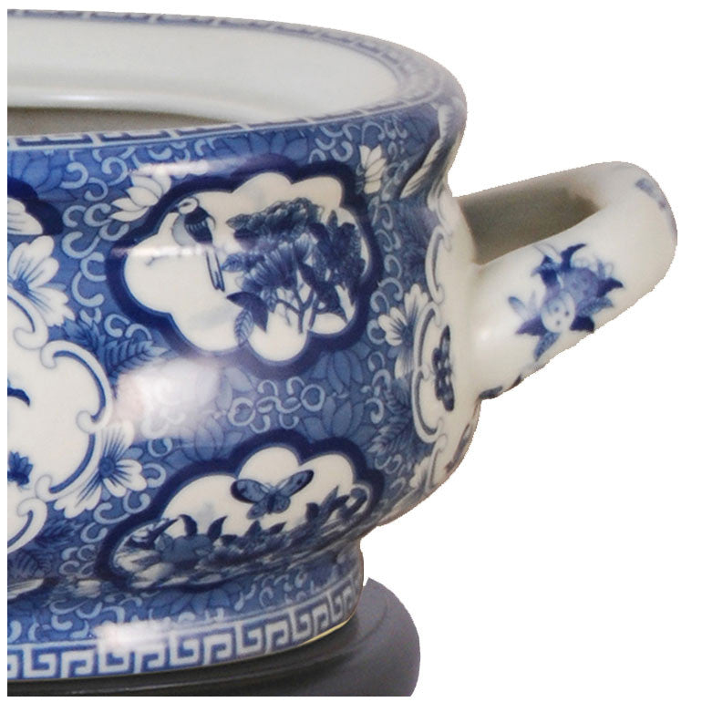 Birds & Butterflies Blue Porcelain Footbath with Base