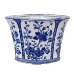Blue & White Oval Porcelain Cachepot