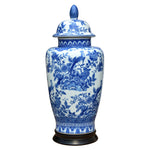 Blue & White Porcelain English Temple Jar with Base