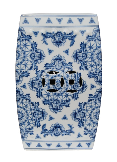 Porcelain Blue & White Square Garden Stool