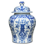 Blooming Blue & White Porcelain Temple Jar