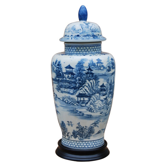 Chinoiserie Blue & White Porcelain Temple Jar with Base