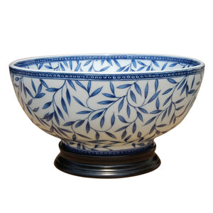 Blue & White Bamboo Porcelain Bowl with Base