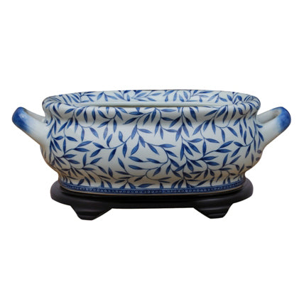 Blue & White Vine Porcelain Footbath with Base