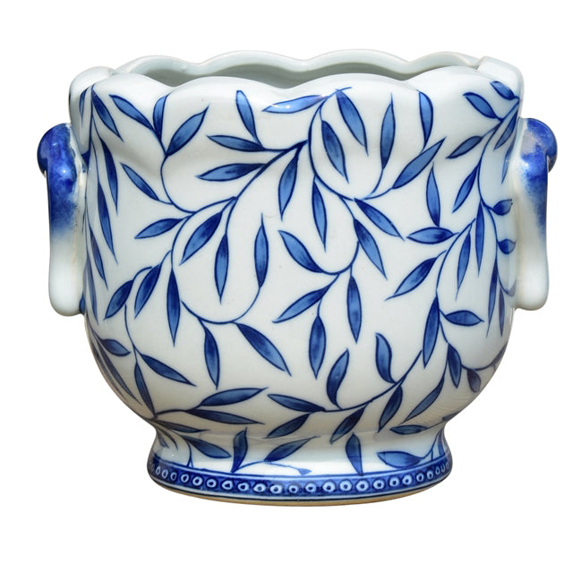 Blue & White Bamboo Porcelain Cachepot