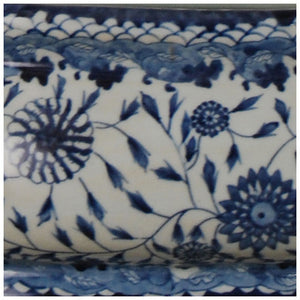 Blue & White Porcelain Footbath with Base