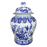 Pheasant on Tree Vines Blue & White Porcelain Temple Jar
