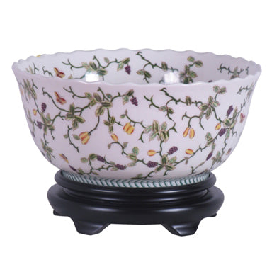 Multi-Colored Vine Porcelain Bowl with Scalloped Edge and Base