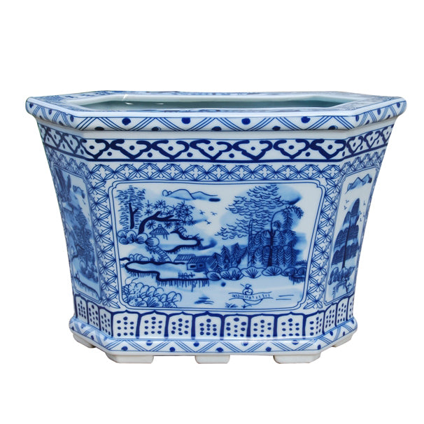 Blue & White Six Side Porcelain Planter
