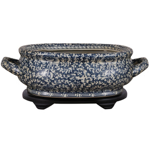 Dark Blue & White Lotus Swirl Porcelain Footbath with Base