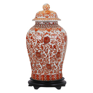 Coral Red Floral Porcelain Temple Jar with Base