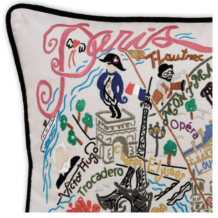 Paris Hand-Embroidered Pillow