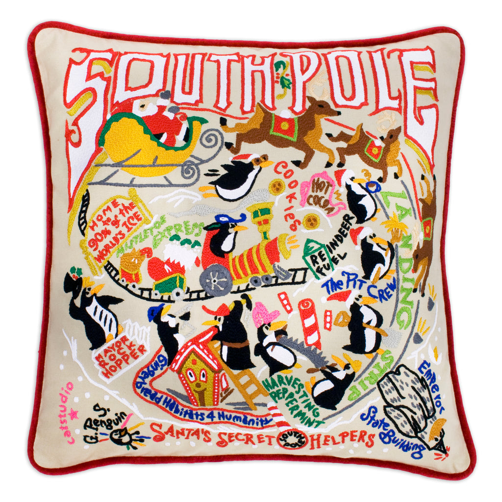 South Pole Hand-Embroidered Pillow