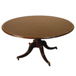 Round Pedestal Table in Brass Casters