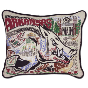 University of Arkansas Collegiate Embroidered Pillow