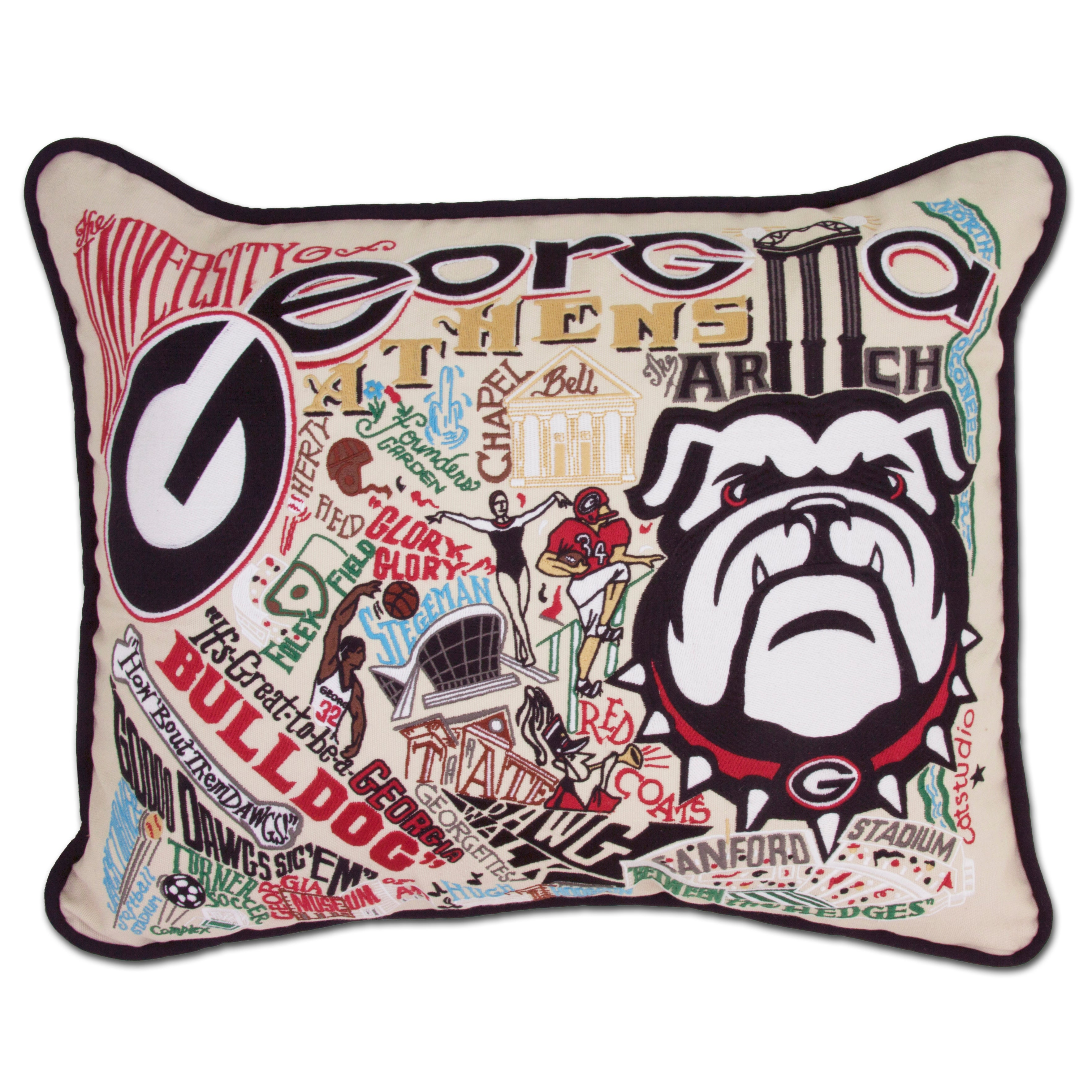 University of Georgia Collegiate Embroidered Pillow
