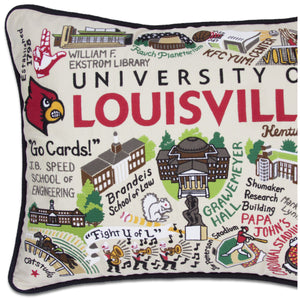 University of Louisville Collegiate Embroidered Pillow