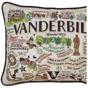 Vanderbilt University Collegiate Embroidered Pillow