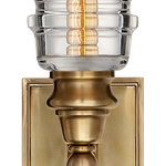 Covington Sconce in Antique-Burnished Brass with Clear Ribbed Narrow Glass