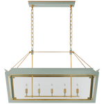 Caddo Medium Linear Lantern with Clear Glass in Celadon and Gild