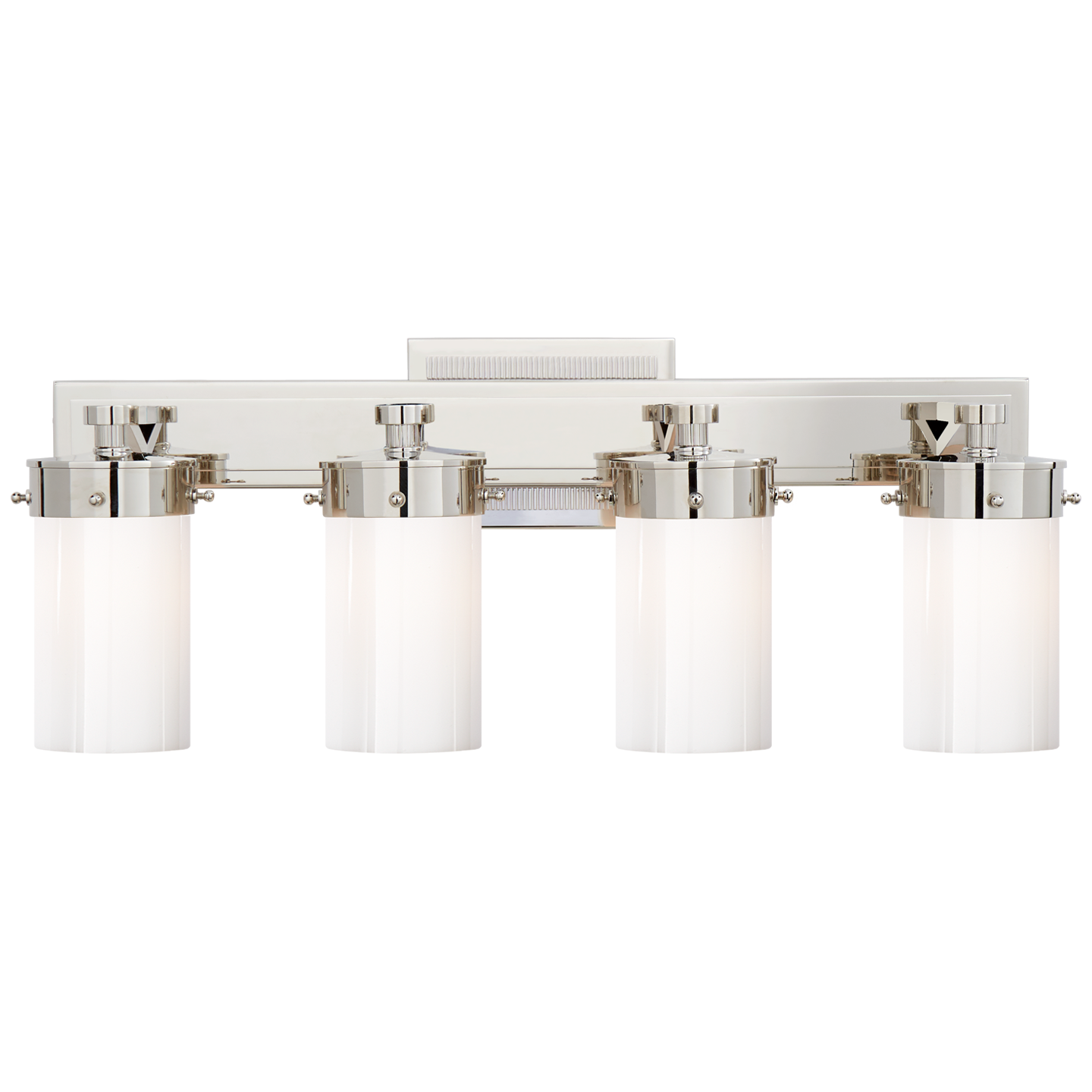 Marais Four-Light Bath Sconce in Polished Nickel with White Glass