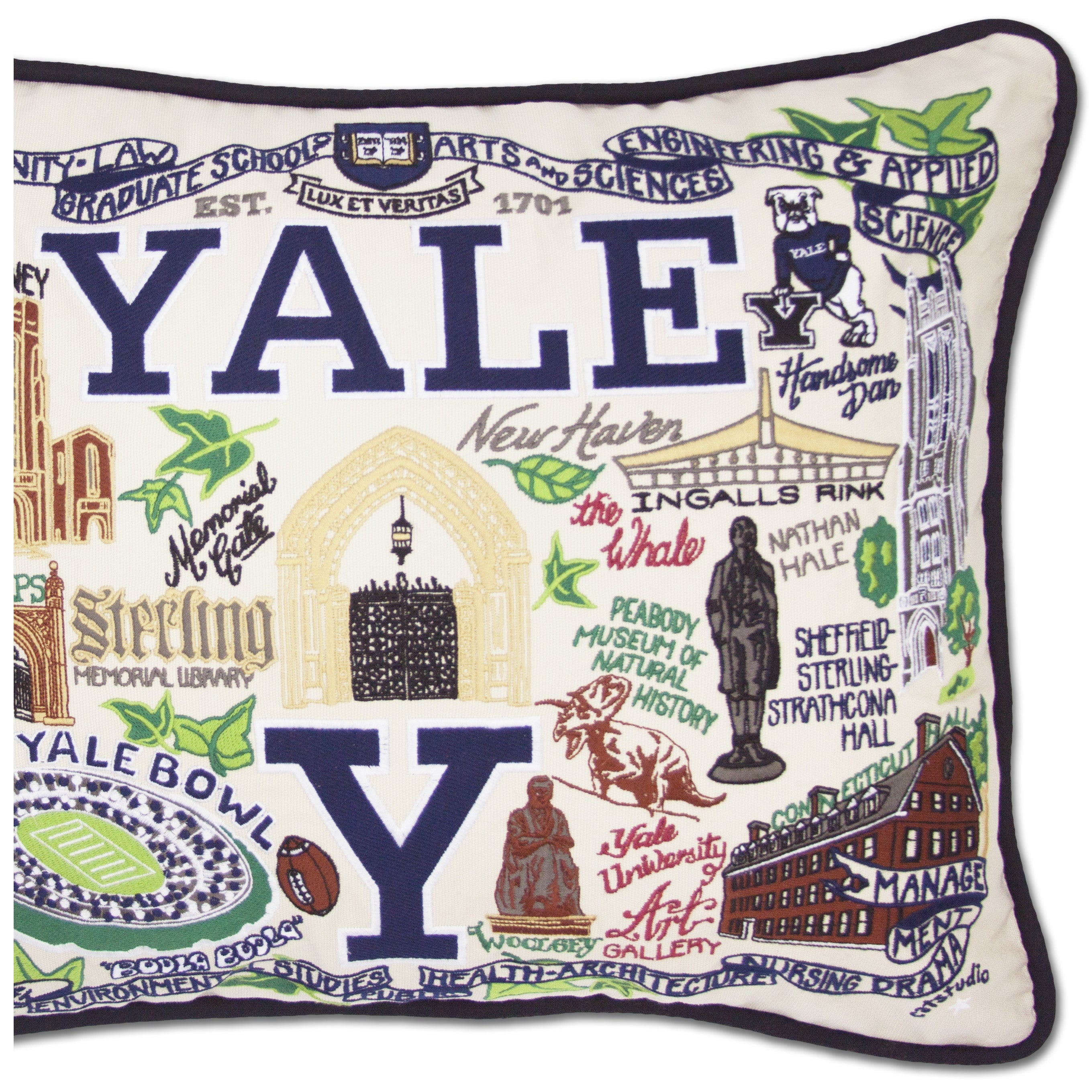 Yale University Collegiate Embroidered Pillow