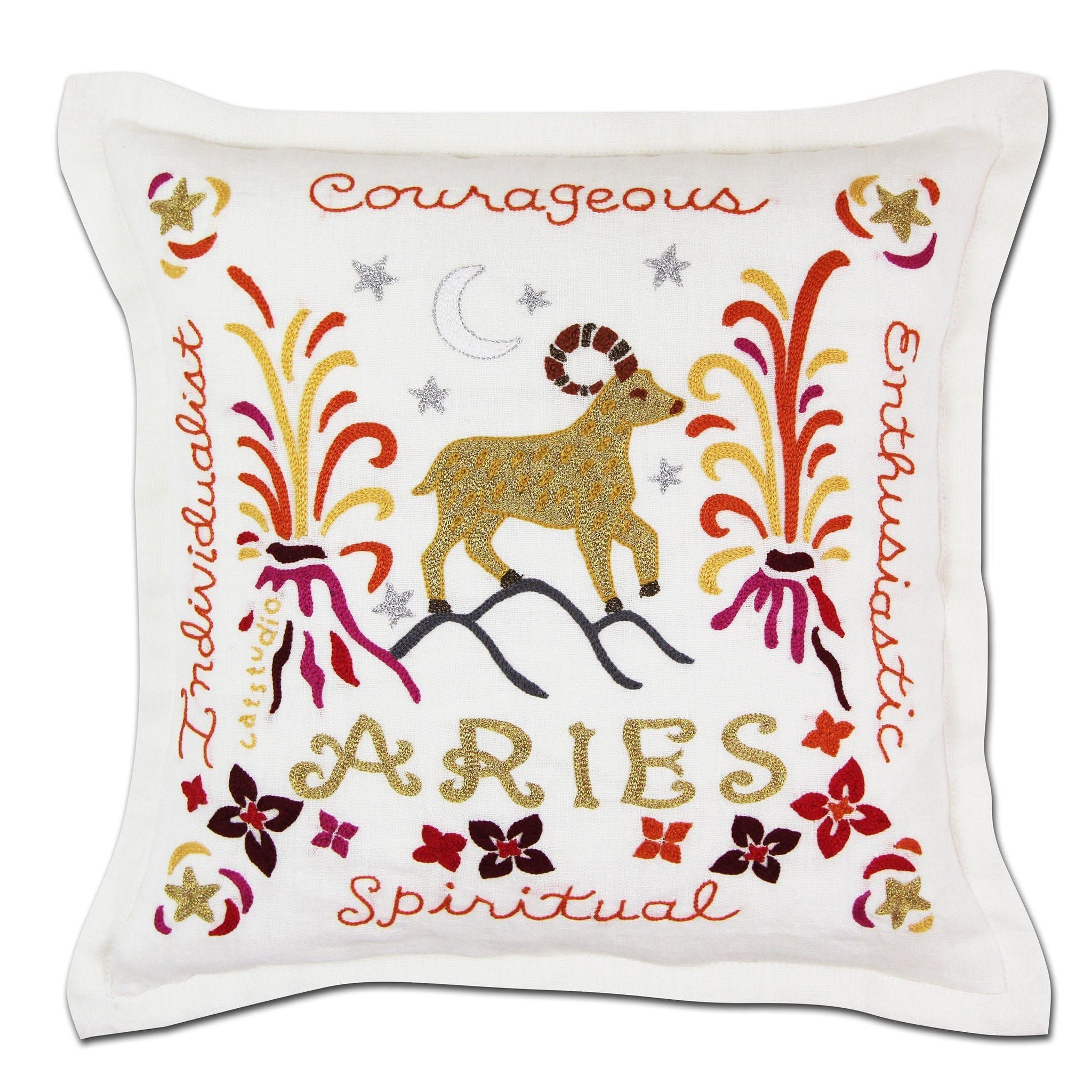Aries Astrology Hand-Embroidered Pillow