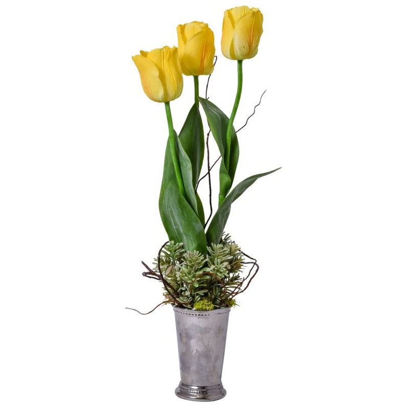 Yellow Tulips in Silver Mint Julep Vase