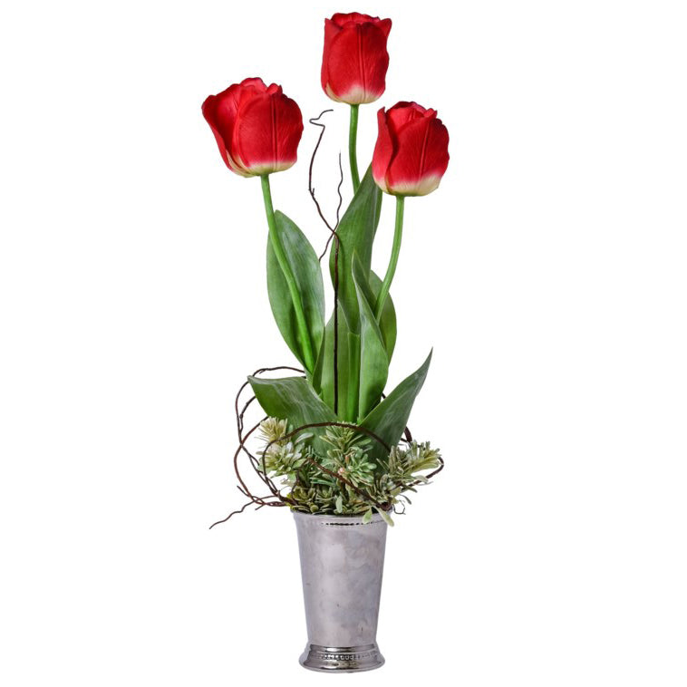 Red Tulips in Silver Mint Julep Vase