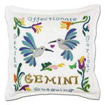 Gemini Astrology Hand-Embroidered Pillow