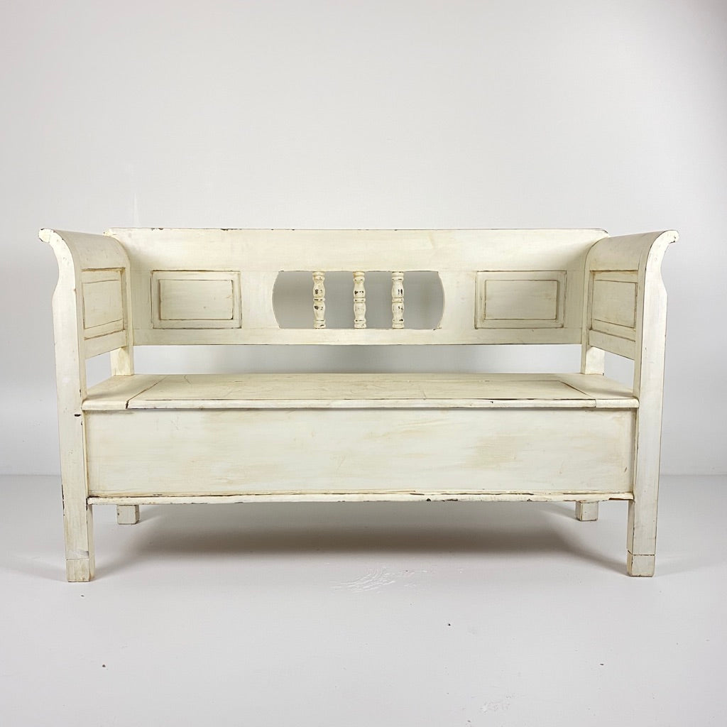 Vintage Eastern European White Painted Bench c1940