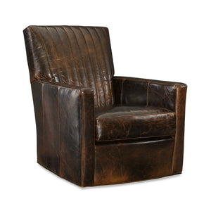 Malcolm Leather Channel Back Swivel Chair