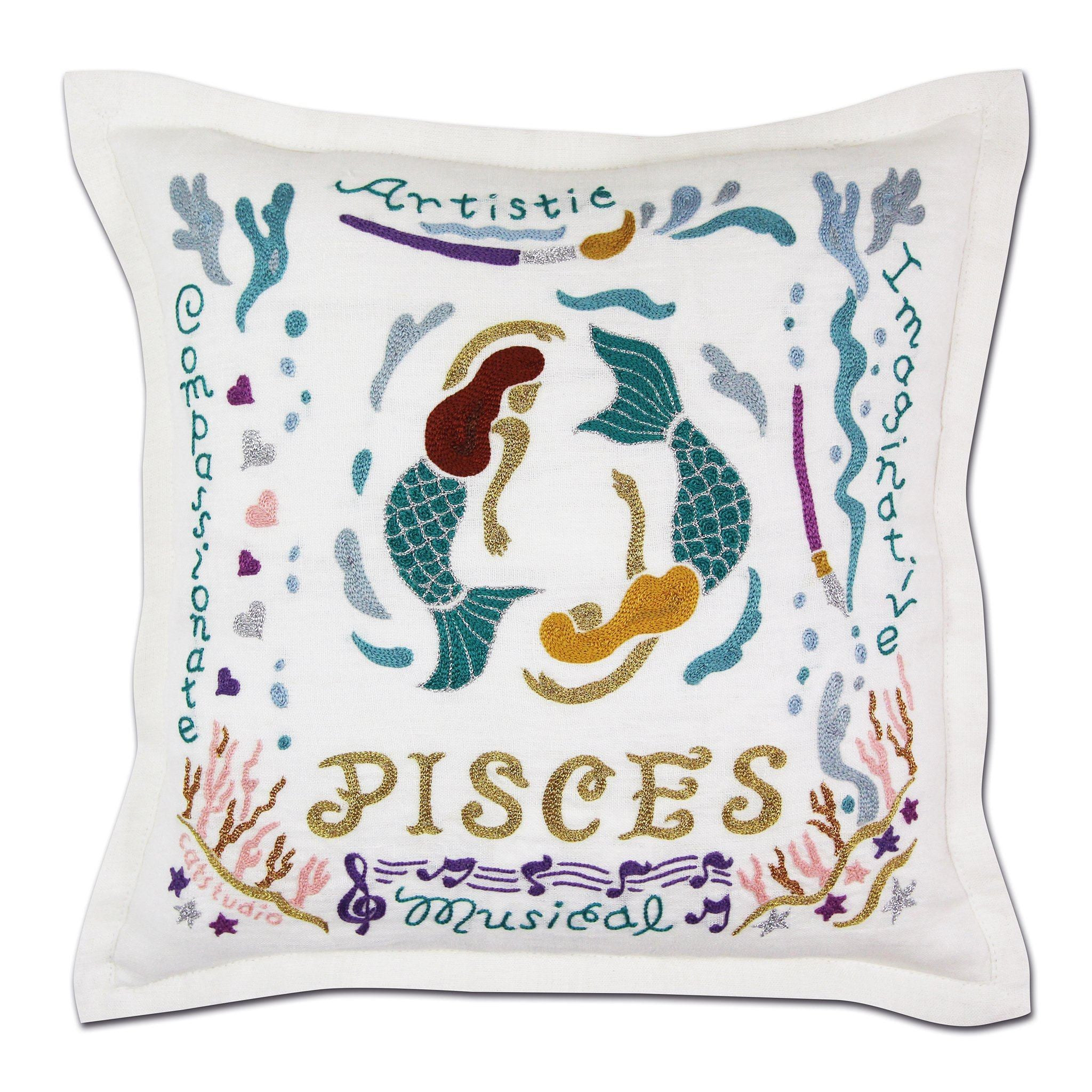 Pisces Astrology Hand-Embroidered Pillow