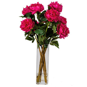 Grand Peony Bouquet in Square Glass Vase