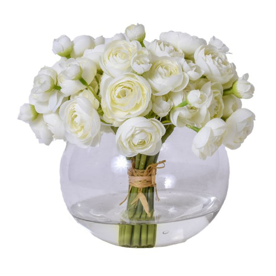 Cream Ranunculus Tied Bouquet in Glass Bowl