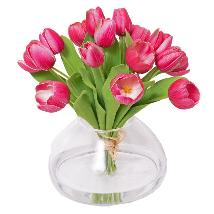Fuchsia Tulip Bouquet Tied in Glass Vase